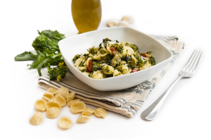 Pasta with turnip greens and bacon